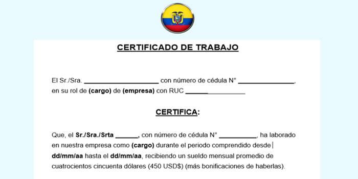 certificado de trabajo en ecuador