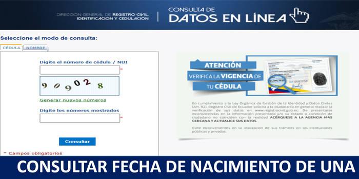 como saber la fecha de nacimiento por internet en ecuador