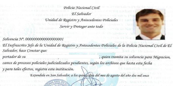 requisitos para tramitar el certificado de antecedentes penales en el salvador